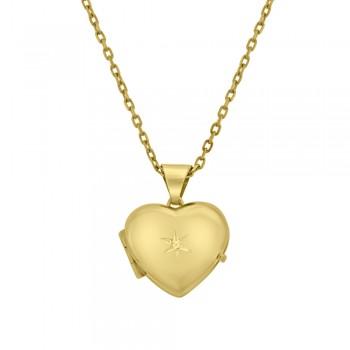 9ct Gold Diamond set Locket Pendant