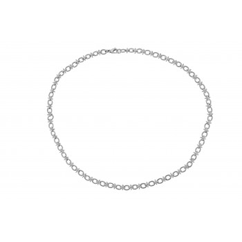 9ct White Gold Oval & Knot 18