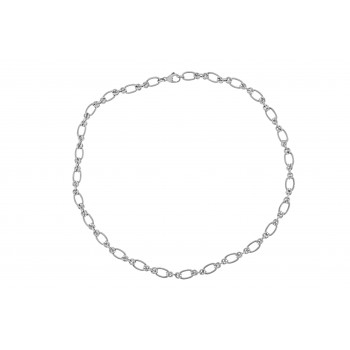 9ct White Gold Oval & Double Twist 18