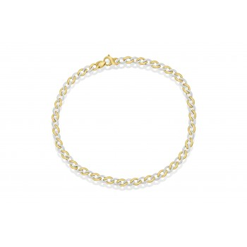 9ct Yellow & White Gold Flat Curb Chain