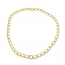 9ct Yellow Gold & Cubic Zirconia Open Curb 16