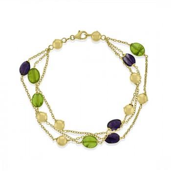18ct Gold Green & Purple Tourmaline 7.5