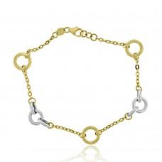 9ct Yellow & White Gold Ring Bracelet