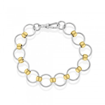 Sterling Silver & 9ct Rose Gold Rollerball Bracelet