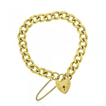 9ct Gold Heart Charm Curb Bracelet