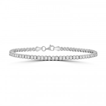 9ct White Gold Cubic Zirconia Tennis Bracelet
