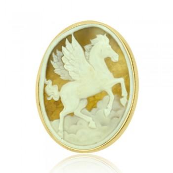 14ct Gold Cameo Pegasus Brooch