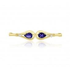 9ct Gold Amethyst & Diamond Pin Brooch