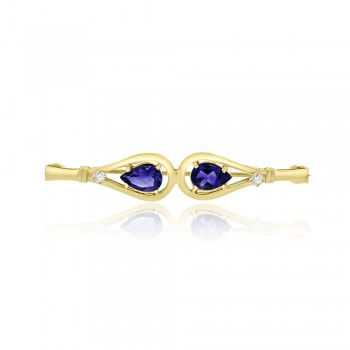 9ct Gold Amethyst & Diamond Pin Brooch