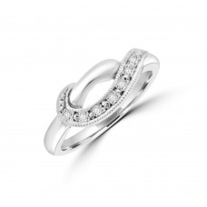 9ct White Gold Diamond Crossover Dress Ring