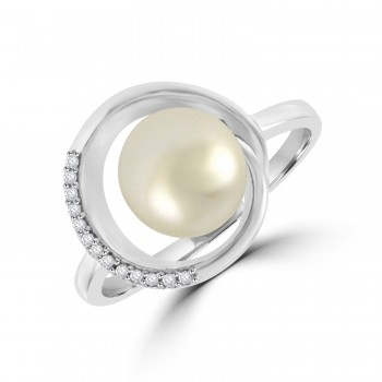 9ct White Gold Cultured Pearl & Diamond Swirl Ring