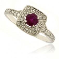 9ct White Gold Ruby & Diamond Halo Ring