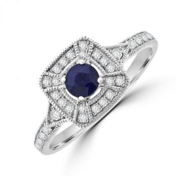 9ct White Gold Sapphire & Diamond Square Halo Ring