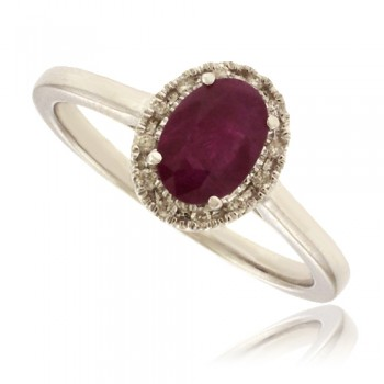 9ct White Gold Ruby & Diamond Halo Ring