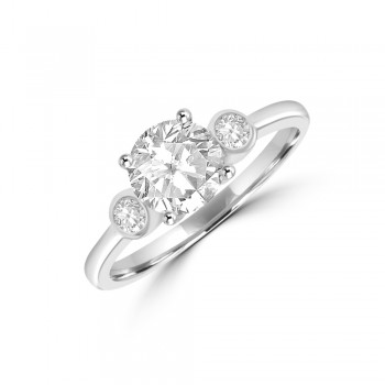 9ct White Gold Three-stone Dress Ring