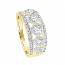 9ct Gold Cubic Zirconia 3-Row Eternity Ring