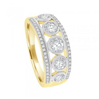 9ct Gold Cubic Zirconia 3-Row Eternity Ring
