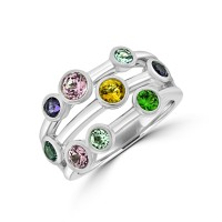 9ct White Gold Multi-coloured Bubble Ring