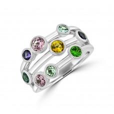 9ct White Gold Multi-coloured Bubble Ring