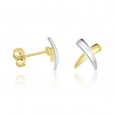 9ct Two Tone Gold Kiss Stud Earrings