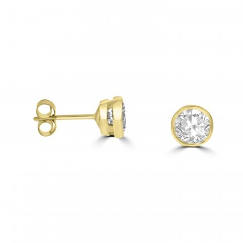9ct Gold Solitaire Cubic Zirconia Rubover Stud Earrings