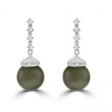 18ct White Gold Tahitian Pearl & Diamond Drop Earrings