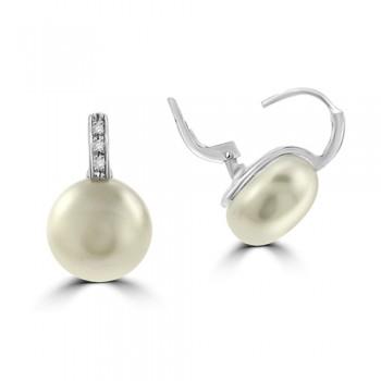 18ct White Gold Diamond & Bouton Pearl Earring Studs