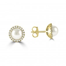 9ct Gold Freshwater Pearl and Diamond Halo Stud Earrings