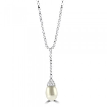 18ct White Gold 46-stone Diamond & Pearl Necklet