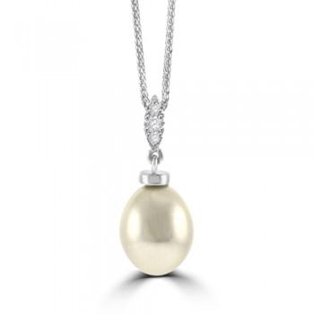 18ct White Gold Cultured Pearl & Diamond Drop Pendant