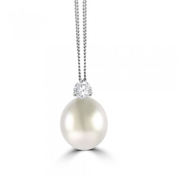 18ct White Gold South Sea Pearl & Diamond Pendant Chain