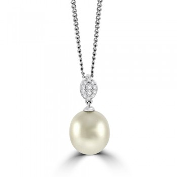 18ct White Gold Freshwater Pearl & Pave Diamond Pendant