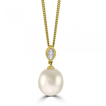 18ct Gold Freshwater Pearl & Pave Diamond Pendant