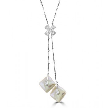 14ct White Gold Pearl Dropper Necklet
