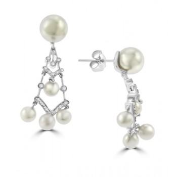 18ct White Gold Cultured Pearl & Diamond Chandelier Earrings