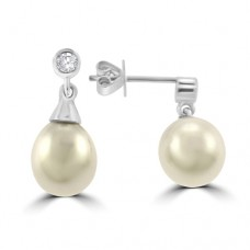 18ct White Gold Cultured Pearl Drop Earrings with Diamond