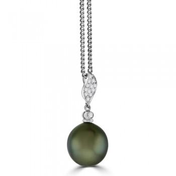 18ct White Gold Tahitian Pearl & Diamond Pendant Chain