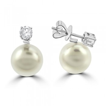 18ct White Gold Cultured Pearl & Diamond Drops