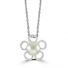 18ct White Gold Cultured Pearl & Diamond Floral Pendant