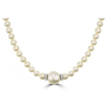 Natural Cultured South Sea Pearl & Diamond Necklet