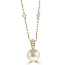18ct Gold Cultured Pearl & Diamond Pendant Chain