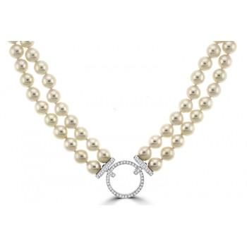 Akoya Cultured Pear Double Row Necklet with Diamond Clasp