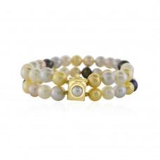 14ct Gold Double Row Multi-tone Freshwater Pearl Bracelet