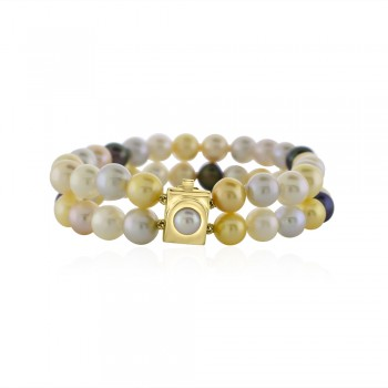14ct Gold Double Row Multi-tone Freshwater Pearl Bracelet