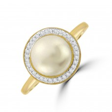 9ct Gold Pearl & Diamond Halo Ring